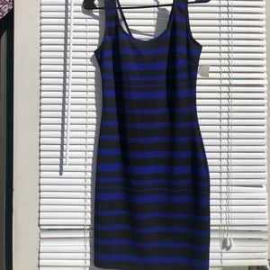 Blue and black stripe dress